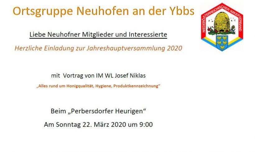 Jahreshauptversammlung Neuhofen/Y. 2020