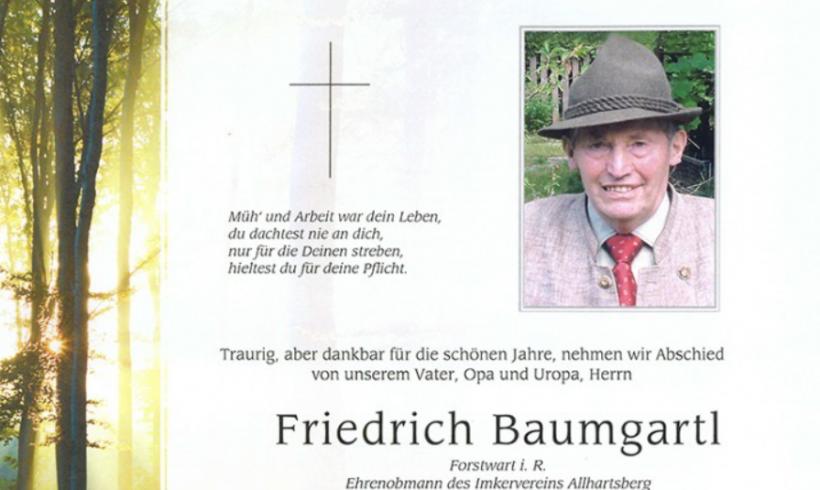 Der Imkerverein Allhartsberg trauert um seinen Ehrenobmann Friedrich Baumgartl